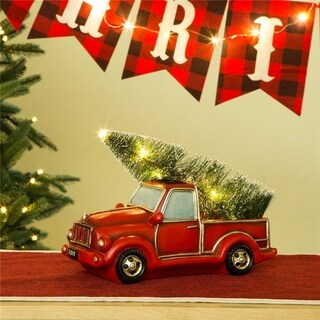 "Glitzhome LED Lighted Red Truck Christmas Table Decor - 11""l*5.2""w*6""h"