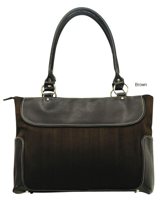 G. Pacific by Traveler's Choice Women's Casual Suede Business Laptop Tote