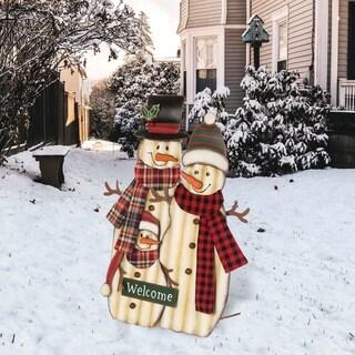 "Glitzhome 30""H Metal Christmas Snowman Family Yard Stake"