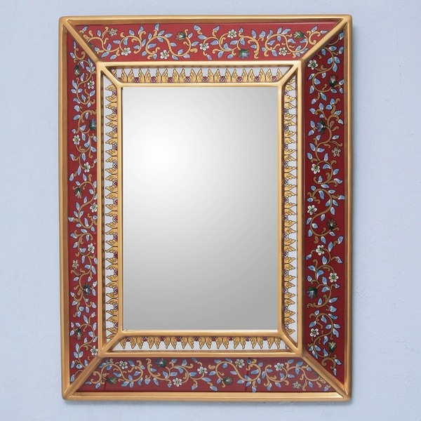Cedar Bluebells on Scarlet Mirror, Handmade in , Handmade in Peru