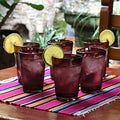 Set of Six Handmade Tall Amethyst Glass Tumblers (Made in Mexico)