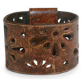 Leather Brown Floral Bracelet (Bali)