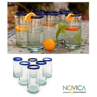 Cobalt Kiss 6-piece Drinking Glass Set (Mexico)