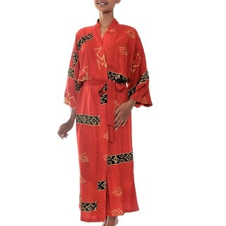 Sunset Red Handmade Artisan Designer Traditional Motifs Women's Clothing Fashion Black Beige Batik Wrap Bath Robe (Indonesia)