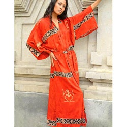 Women's Sunset Red Batik Robe (Indonesia)