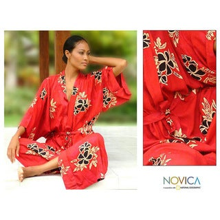 Women's Hibiscus Red Batik Robe (Indonesia)