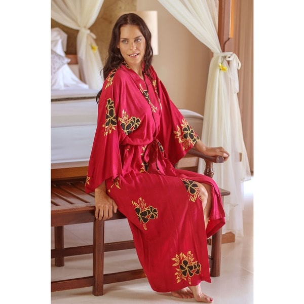 Hibiscus Flower Batik Print Wide Sleeve Self Tie Women's Long Robe (Indonesia)–Overstock.com-Cash Back
