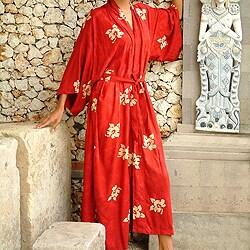 Women's Red Passion Batik Robe (Indonesia)