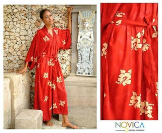 Women's Red Passion Batik Robe (Indonesia)
