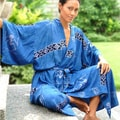 Women's Deep Blue Sea Batik Robe (Indonesia)