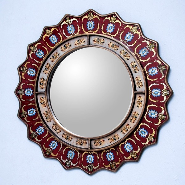 Ruby Medallion Mirror , Handmade in , Handmade in Peru