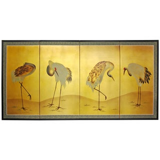 Silk, Wood and Rice Paper Gold Leaf Cranes Screen (China)
