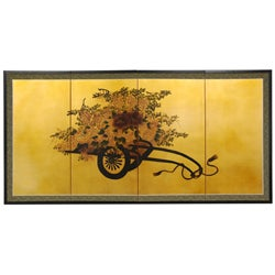 Flower Cart on Gold Leaf Silk Screen (China)