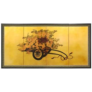 Flower Cart on Gold Leaf Silk Screen (China)