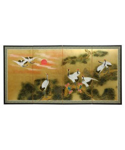 Silk Sunset Cranes Gold Leaf Screen (China)