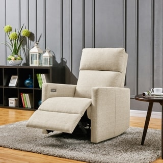 ProLounger Tan Linen Power Wall Hugger Reclining Chair with USB Port