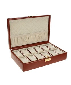 Brown Leather 12-slot Watch Box