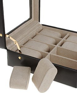 Elegant Black Leather Glass Top 8-slot Watch Box