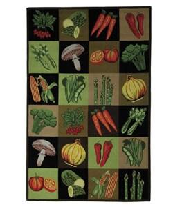 Handmade Vintage Vegetable Collage Wool Rug (5'3 x 8'3)