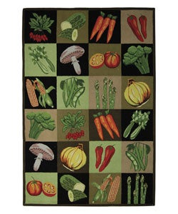 Handmade Vintage Vegetable Collage Wool Rug (6' x 9')