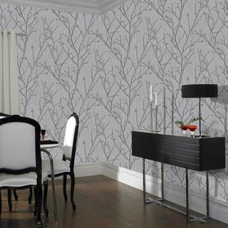 Water Silk Sprig Charcoal Wallpaper