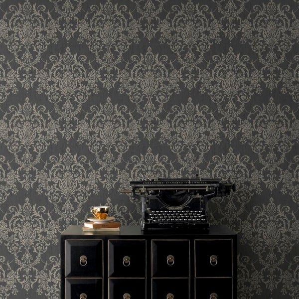 Victorian Damask Black/ Gold Wallpaper