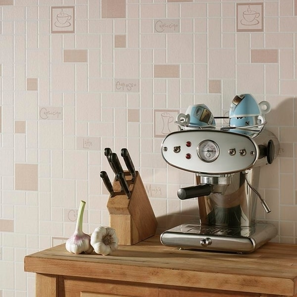 Cafe Culture Beige Wallpaper