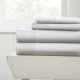 Merit Linens Premium Ultra Soft Pinstriped Pattern 4 Piece Bed Sheet Set