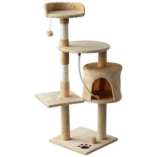 "PawHut 45"" Plush Sturdy Interactive Cat Condo Tower Scratching Post Activity Tree House - Beige/ White"