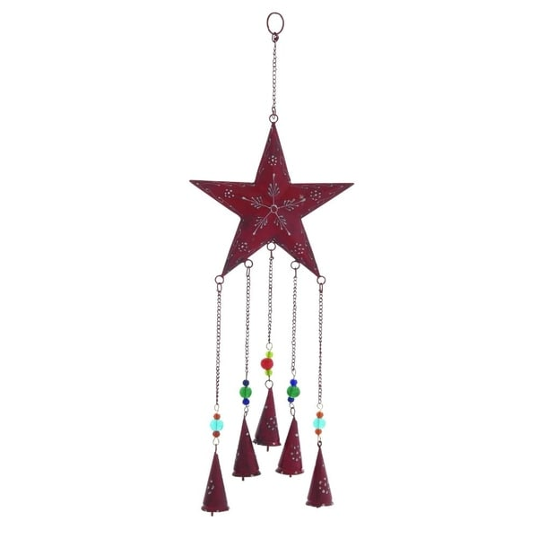 "Metal Star Windchimes, 8"" W, 24"" H"