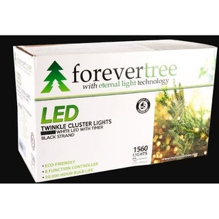 Forever Tree 1560 LED Twinkle Cluster White Lights w Black Wire