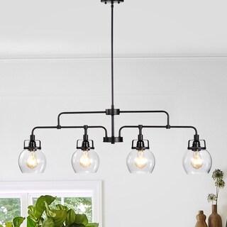 Julij 4-light Linear Black Chandelier with Glass Bowl Lamps