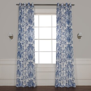 Exclusive Fabrics Xenia Grommet Printed Faux Linen Sheer Curtain