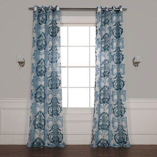 Exclusive Fabrics Damacus Grommet Printed Faux Linen Sheer Curtain