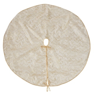 Organza Gold Leaf Design Christmas Tree Skirt