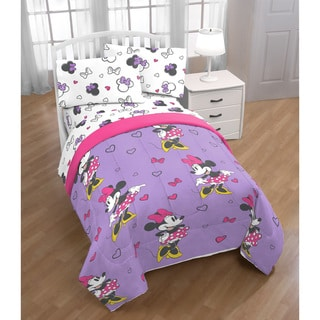 Disney Minnie Mouse Purple Love 4 Piece Twin Bed Set