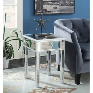 Silver Orchid Talmadge Mirrored End Table with Drawer
