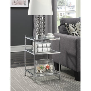 Silver Orchid Farrar Chrome Glass End Table
