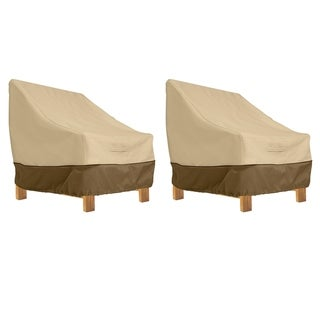 Classic Accessories Veranda Water-Resistant 38 Inch Deep Seated Patio Lounge Chair Cover, 2 Pack