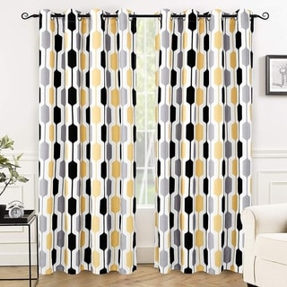 "DriftAway Riley Geo Pattern Mid Century Lined Blackout Grommet Window Curtain Panel Pair - 52"" width x 84 "" length"