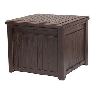 Keter Cube 55 Gallon Wood Look Deck Box Storage Table