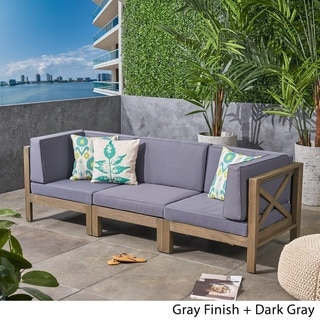 Brava Outdoor 3-Seater Sectional Acacia Wood Sofa Set with Water-Resistant Cushions by Christopher Knight Home