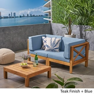 Brava Outdoor 2-Seater Sectional Acacia Wood Loveseat Set with Coffee Table and Cushions by Christopher Knight Home