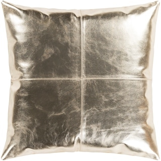 "Signature Champagne Leather Throw Pillow Cover (22"" x 22"")"