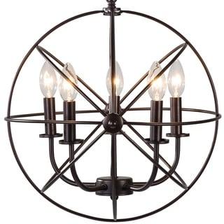 Industrial 5 Light Hanging Farmhouse Orb Ceiling Chandelier Fixture Bronze