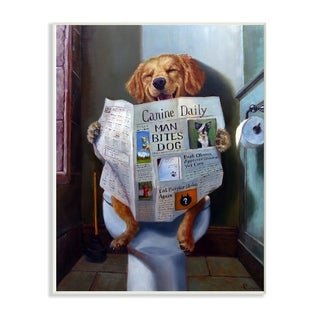 The Stupell Home Décor Collection Dog Reading the Newspaper On Toilet Funny Painting Wall Plaque Art, Proudly Made in USA
