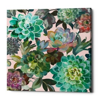 """Epic Graffiti """"Floral Succulents v2 Crop on Pink"""" by Danhui Nai, Giclee Canvas Wall Art - 12"""" x 12"""""""