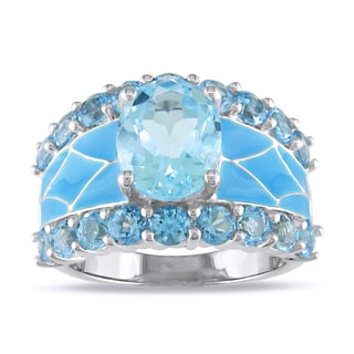 Mosaic Blue Topaz Sterling Silver Ring