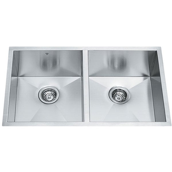 32-inch Undermount Stainless Steel 16 Gauge Double Bowl Kitchen Sink