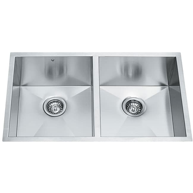 Double Bowl Stainless Steel Sink : 32-inch Undermount Stainless Steel 16 Gauge Double Bowl Kitchen Sink ...